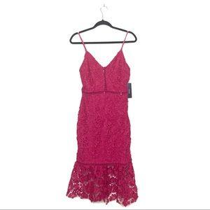 Lulu's Taliah Hot Pink Midi Lace Bodycon Dress